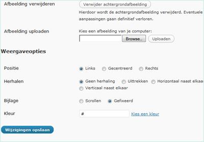 WordPress aangepaste achtergrond