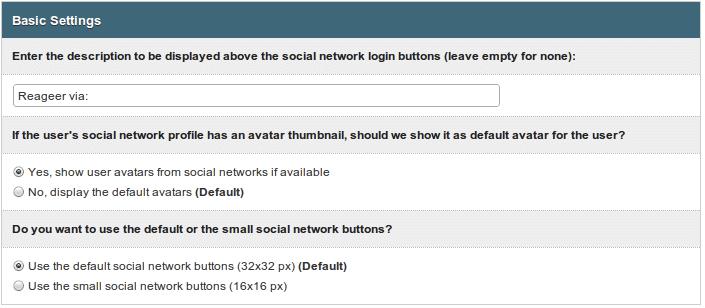 Social Login - instellingen